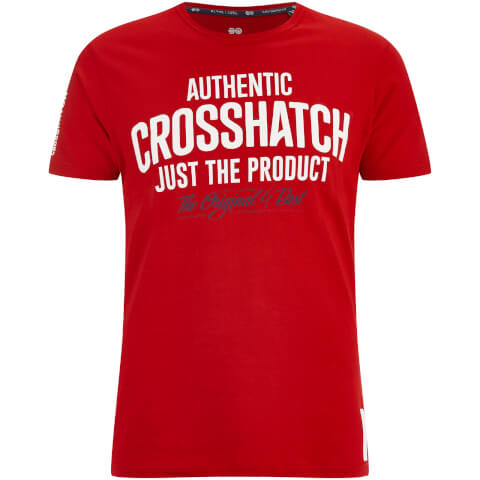 Crosshatch Men's Greendale Sleeve Logo T-Shirt - Barbados Cherry