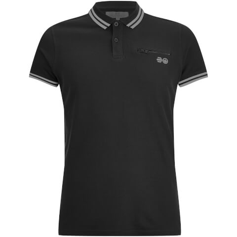 Crosshatch Men's Crazer Tipped Pique Polo Shirt - Black