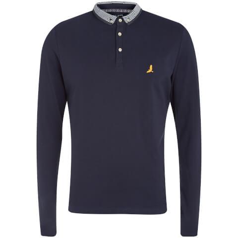 Brave Soul Men's Hatter Long Sleeve Polo Shirt - Navy
