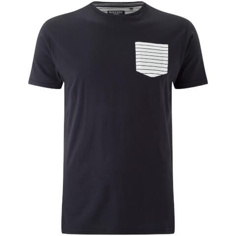 Brave Soul Men's Generate Stripe Pocket T-Shirt - Navy