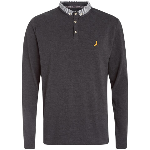 Brave Soul Men's Hatter Long Sleeve Polo Shirt - Charcoal Marl