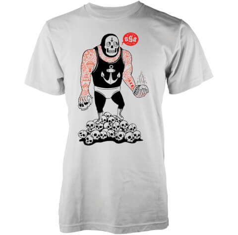 T-Shirt Homme Taco Wrestler Abandon Ship -Blanc