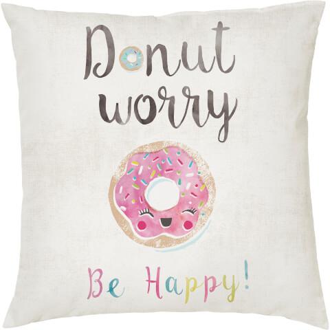 Coussin Imprimé Donut Worry -Blanc (45 x 45cm)