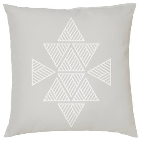Geometric Triangle Print Cushion - Grey