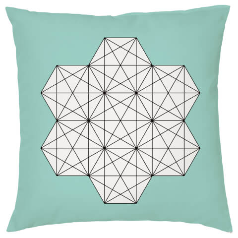 Geometric Star Print Cushion - Teal