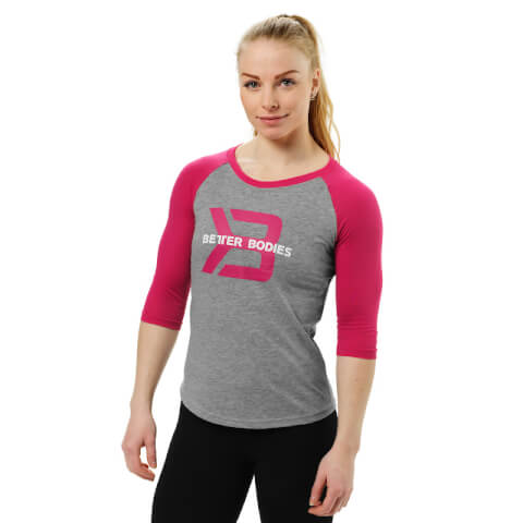 Better Bodies Women's Baseball T-Shirt - Grey Melange/PInk