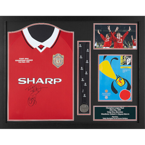 Teddy Sheringham and Solskjaer Dual Signed and Framed '99 Shirt and Medal