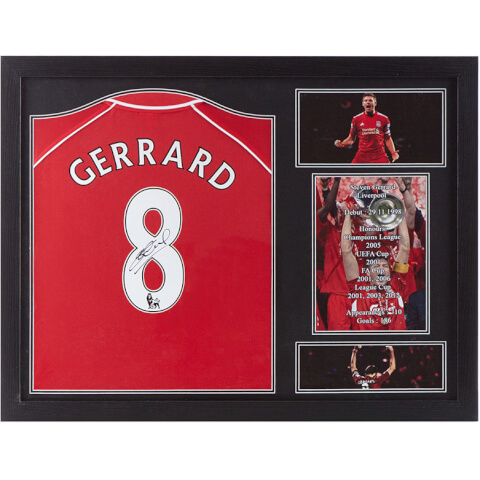 Steven Gerrard Signed and Framed Liverpool Shirt
