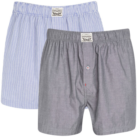 Levi's Men's 300LS 2-Pack Striped Chambray Woven Boxers - Blue Jeans
