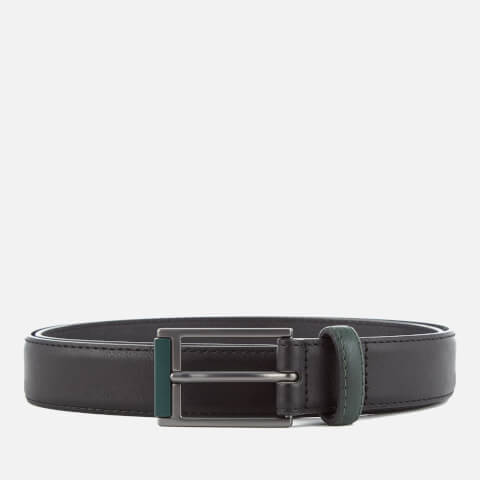 Ben Sherman Men's Bonded Leather Tipped Belt - Black/Green