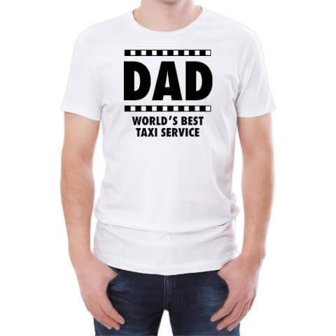 T-Shirt Homme Dad World's Best Taxi Service -Blanc