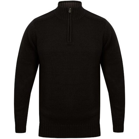 Kensington Men's Zip Down Jumper with Ribbed Detailing - Black