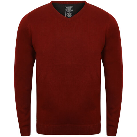 Kensington Men's Basic V Neck Jumper - Oxblood