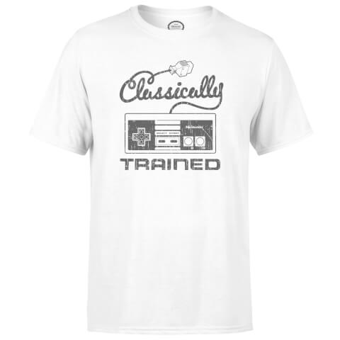 T-Shirt Homme Nintendo Retro NES Classically Trained -Blanc