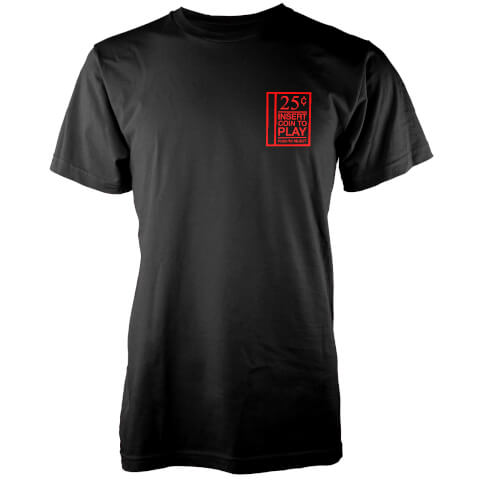 25cents Insert Coin To Play Men's Black T-Shirt