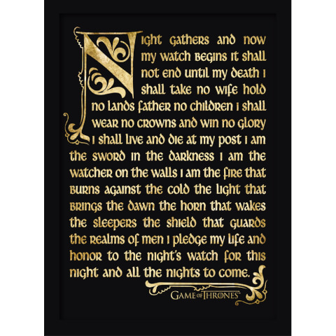 Game of Thrones: Season 3 Nightwatch Oath Framed 30 x 40cm Print