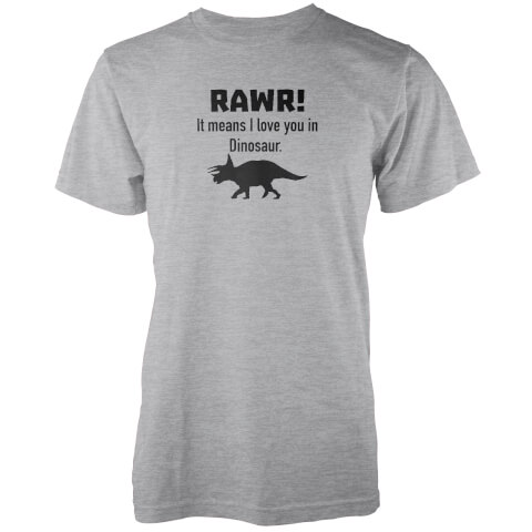 Rawr! It Means I Love You In Dinosaur Grey T-Shirt