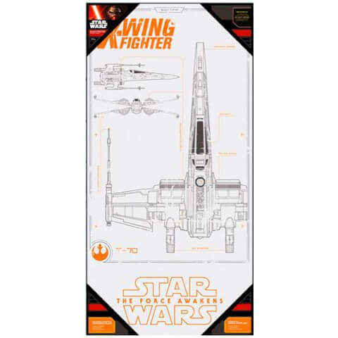 Star Wars Episode VII Glass Poster - X-Wing Fighter (50 x 25cm)