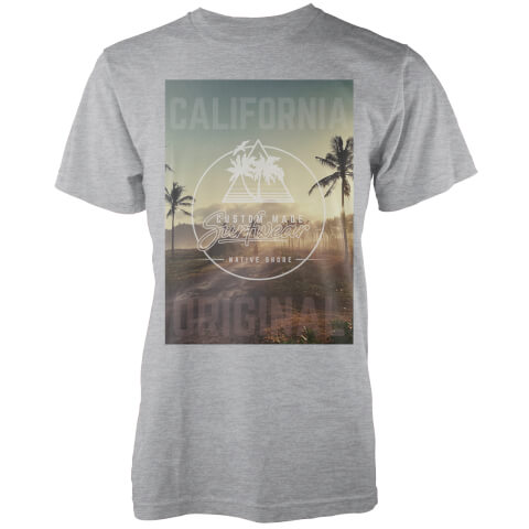 Native Shore Men's California Original Palm Graphic T-Shirt - Light Grey Marl