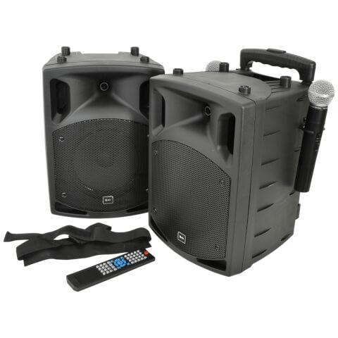 QTX PAV8-UHF Portable Bluetooth PA System Set with 2x UHF Mics