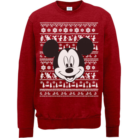 Disney Mickey Mouse Christmas Mickey Face Red Christmas Sweatshirt