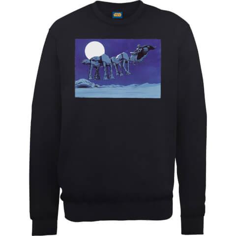 Star Wars Darth Vader AT-AT Christmas Sleigh Black Christmas Sweatshirt