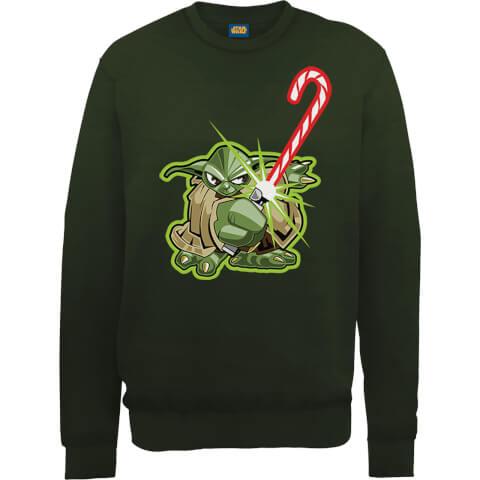 Star Wars Candy Cane Yoda Green Christmas Sweatshirt