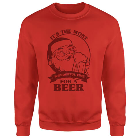 The Most Wonderful Time For A Beer Sweatshirt - Red