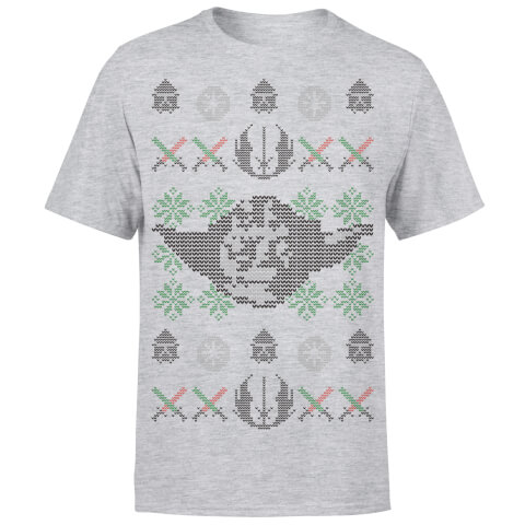 Star Wars Christmas Yoda Face Sabre Knit Grey T-Shirt