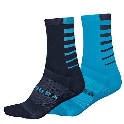 Coolmax® Stripe Socks (Twin Pack) - Electric Blue