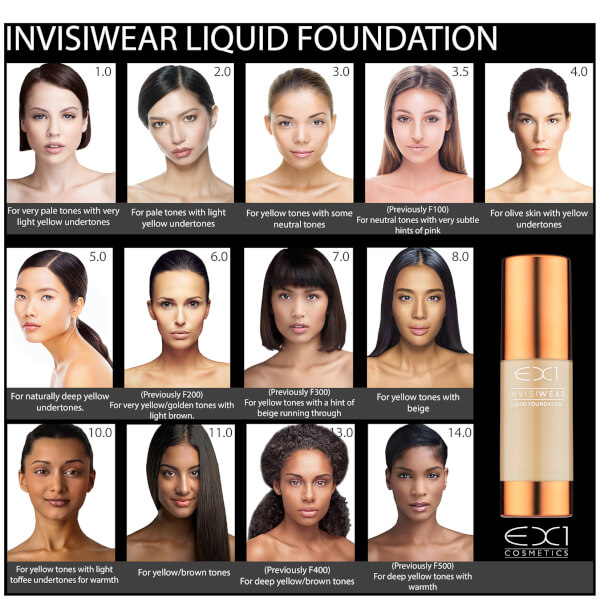 Ex1 Cosmetics Invisiwear Liquid Foundation 30ml Various