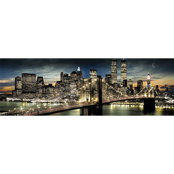 New York Manhattan Night and Moon - Door Poster - 53 x 158cm