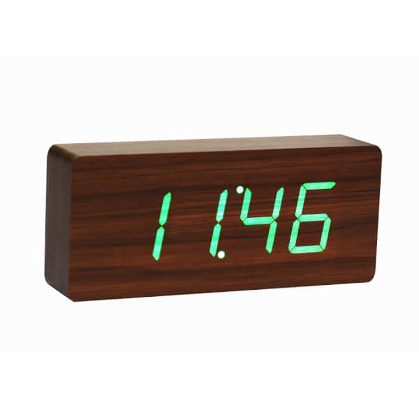Gingko Slab Click Clock - Walnut