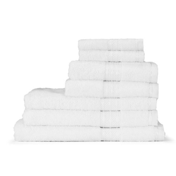 restmor 100 egyptian cotton 7 piece supreme towel bale set 500gsm white - Egyptian Cotton Towels