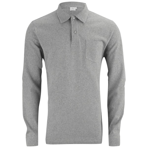 Sunspel Men 39 S Long Sleeve Riviera Polo Shirt Grey