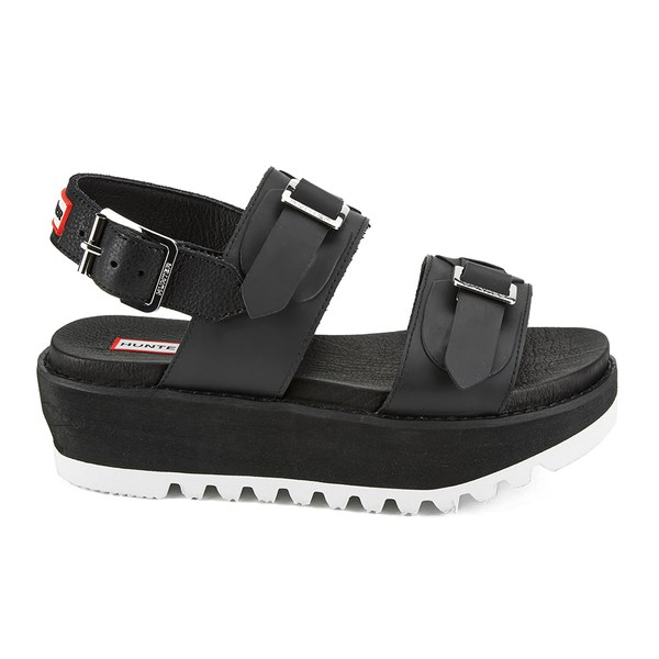 Hunter Women's Original Double Buckle Mid Flatform Sandals - Black