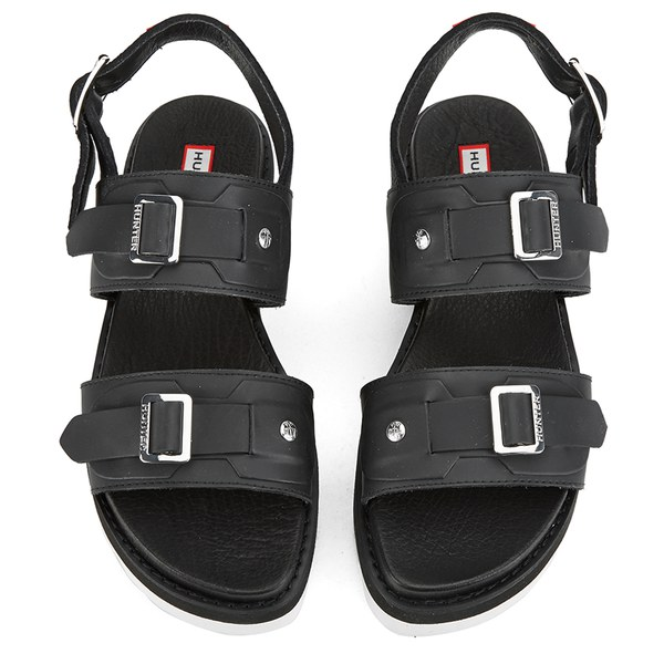 d6542e8d7be Hunter Women s Original Double Buckle Mid Flatform Sandals - Black  Image 2