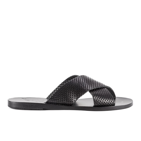 Ancient Greek Sandals Women's Thais Perforated Leather Slide Sandals - Black