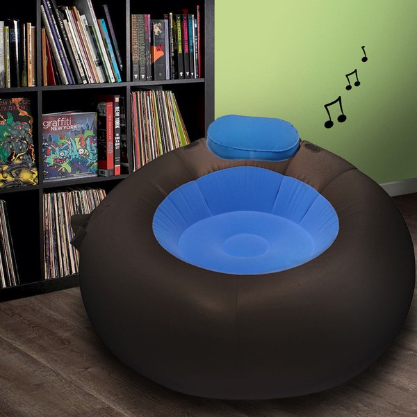 Inflatable Kids Birthday Chair: Inflatable IMusic Chair II - Black/Blue