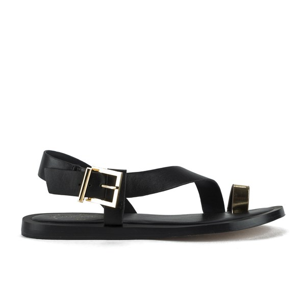 Ted Baker Women's Prendie Toe Post Leather Sandals - Black/Gold