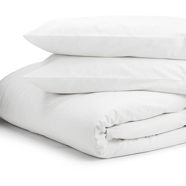 Highams 100% Egyptian Cotton Plain Dyed Duvet Cover and Pillowcases - White