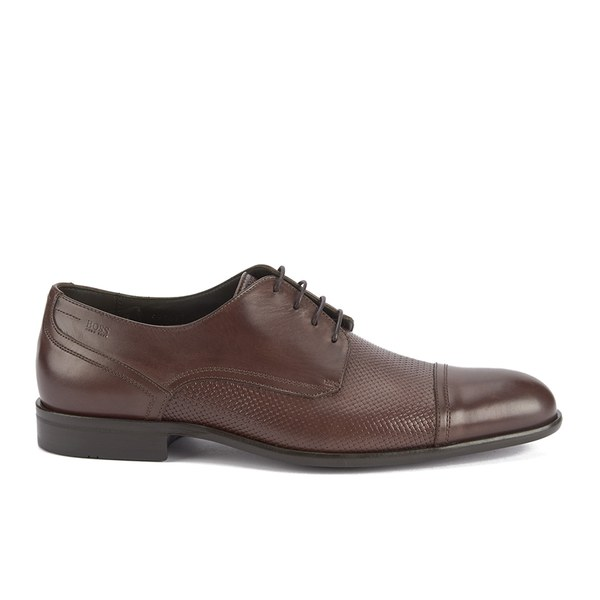 BOSS Hugo Boss Men's Broders Weave Toe Cap Leather Derby Shoes - Medium  Brown: Image
