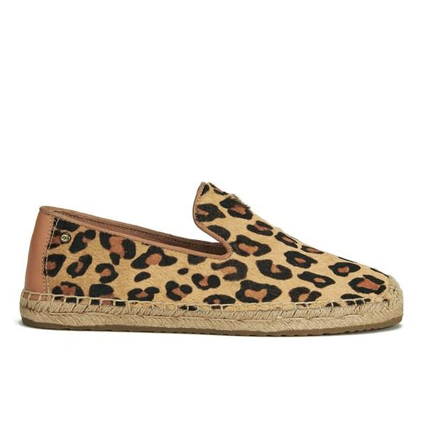 UGG Women's Sandrinne Calf Hair Leopard Slip On Espadrille Shoes - Chestnut Leopard: Image 1