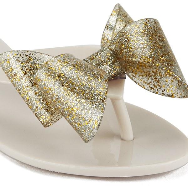 794b09cb7c7f6e Melissa Women s Harmonic Glitter Bow Flip Flops - Ivory Clothing ...