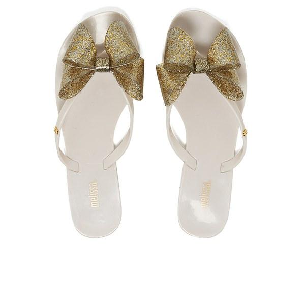 Melissa Women's Harmonic Glitter Bow Flip Flops - Ivory