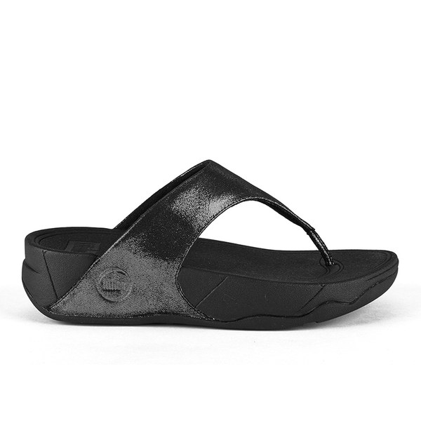 FitFlop Women's Lulu Shimmersude Toe Post Sandals - Black