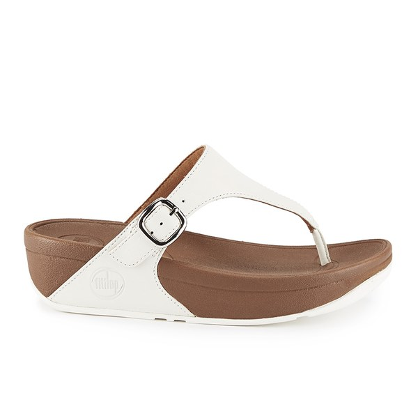 7132f8ccd FitFlop Women s The Skinny Cork Leather Toe Post Sandals - Urban White   Image 1