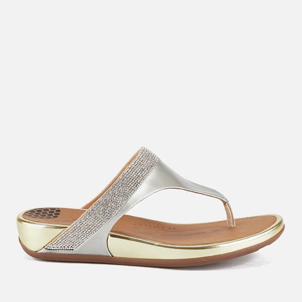 235e7a29a5b20d FitFlop Women s Banda Micro-Crystal Leather Toe Post Sandals - Pale Gold   Image 1