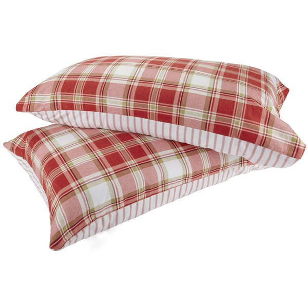 Catherine Lansfield Tartan Housewife Pillowcase - Pair - Red