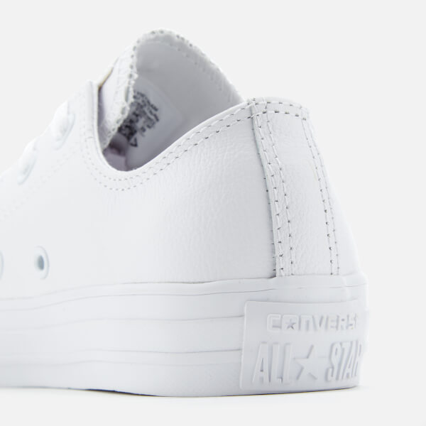 cb82b30ae16 Converse Chuck Taylor All Star Ox Leather Trainers - White Monochrome   Image 8